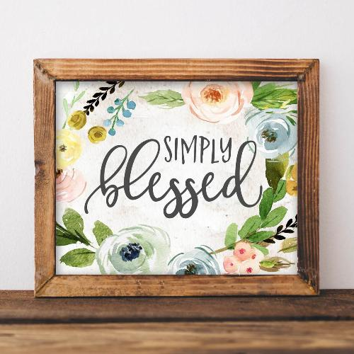 Simply Blessed - Printable - Printable Digital Download Art by Gracie Lou Printables