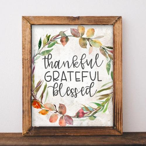 Thankful Grateful Blessed - Printable - Printable Digital Download Art by Gracie Lou Printables