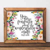 You are fearfully and wonderfully made, Psalm 139:14 - Printable - Printable Digital Download Art by Gracie Lou Printables