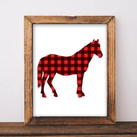 Buffalo Check Horse - Printable - Printable Digital Download Art by Gracie Lou Printables