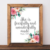 She is Fearfully and Wonderfully Made, Psalm 139:14 - Printable - Printable Digital Download Art by Gracie Lou Printables