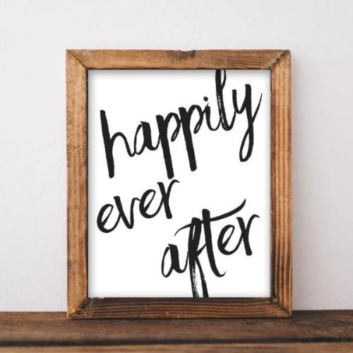 Happily Ever After - Printable - Printable Digital Download Art by Gracie Lou Printables