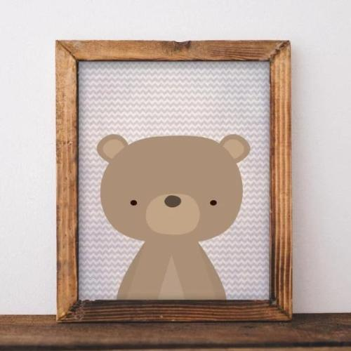 Woodland Bear - Printable - Printable Digital Download Art by Gracie Lou Printables