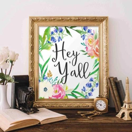 Hey Y'all - Printable - Printable Digital Download Art by Gracie Lou Printables