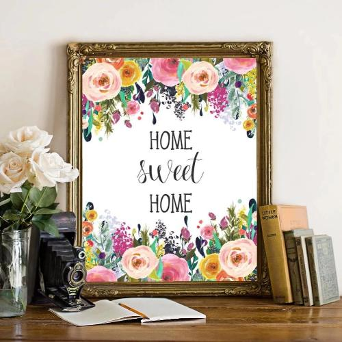 Home Sweet Home - Floral Printable Art - Printable Digital Download Art by Gracie Lou Printables