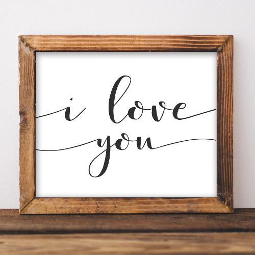 I Love You - Printable - Printable Digital Download Art by Gracie Lou Printables