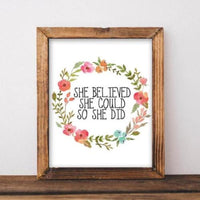 She Believed - Printable - Gracie Lou Printables