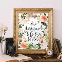 She Designed - Printable - Printable Digital Download Art by Gracie Lou Printables