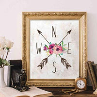 Compass Arrows - Printable - Printable Digital Download Art by Gracie Lou Printables