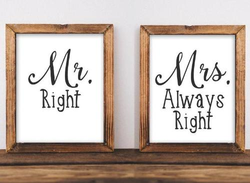 Printable Wall Art, Mr Right, Mrs Always Right quote, home decor printable, typography quote, wedding art wedding printable - Gracie Lou Printables