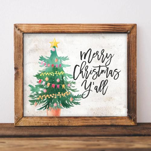Merry Christmas Y'all - Printable - Gracie Lou Printables