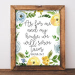 As for me and my house we will serve tacos - Floral Printable Decor - Gracie Lou Printables