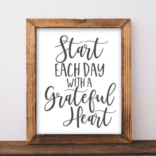 Start each day with a grateful heart, Printable art, DIY home decor, Inspirational sayings, Gracie Lou Printables
