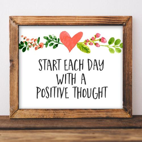 Positive Thought - Printable - Printable Digital Download Art by Gracie Lou Printables