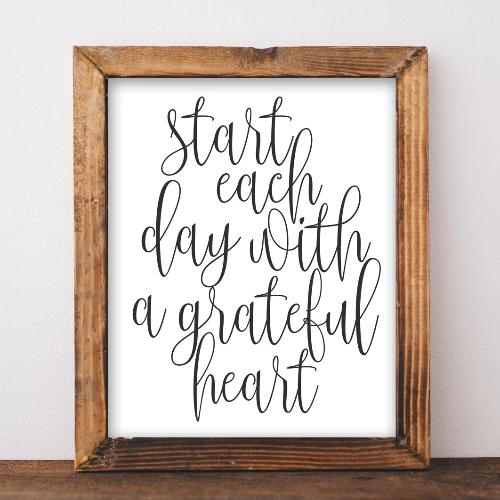 Grateful Heart - Printable - Printable Digital Download Art by Gracie Lou Printables