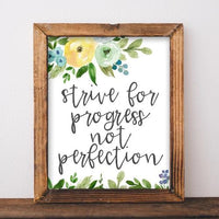 Progress not Perfection - Printable - Printable Digital Download Art by Gracie Lou Printables