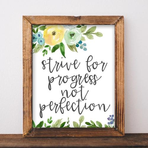Progress not Perfection - Printable - Gracie Lou Printables