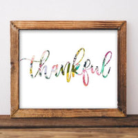 Thankful - Printable - Printable Digital Download Art by Gracie Lou Printables