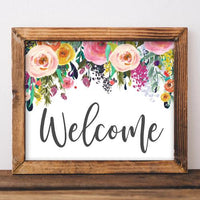 Welcome, Printable Art, Digital Art, Entryway decor, Living Room gallery wall, Boho floral, Gracie Lou Printables