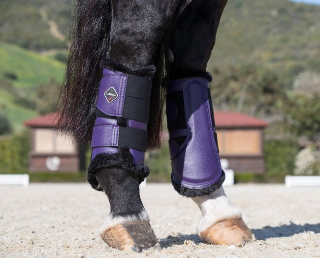LeMieux Fleece Brushing Boots Blackcurrant/Black