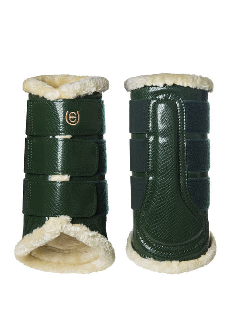 Equestrian Stockholm Fleece Brushing Boots Forest Green