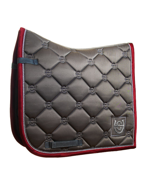 Equestrian Stockholm Dressage Saddle Pad Grey Bordeaux