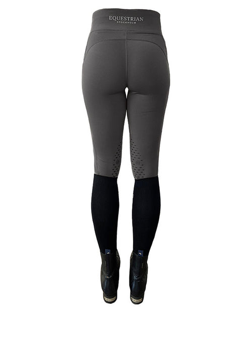 Equestrian Stockholm Knee Grip Riding Tights Grey