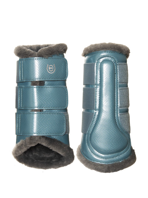 Equestrian Stockholm Fleece Brushing Boots Steel Blue