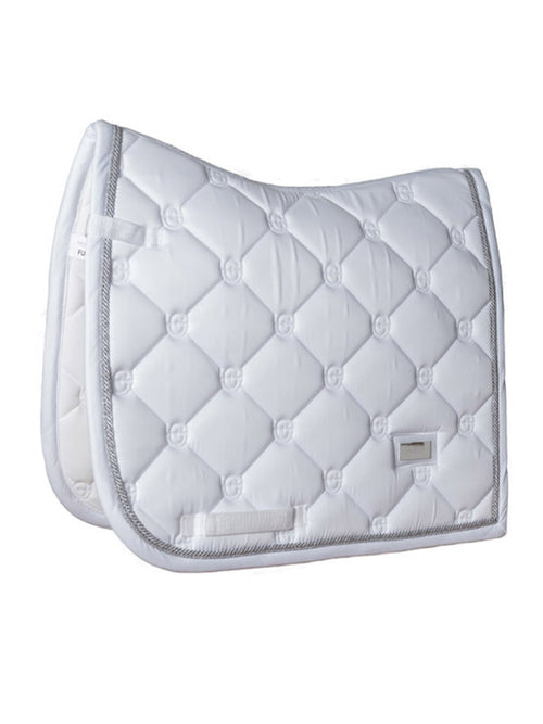 Equestrian Stockholm Dressage Saddle Pad White Perfection Silver
