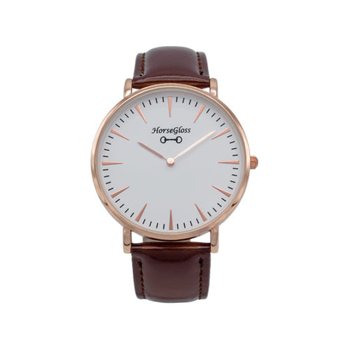 Horse Gloss Classic Leather Watch Brown & Rose Gold