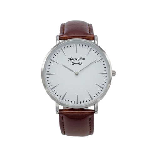 Horse Gloss Classic Leather Watch Brown & Silver