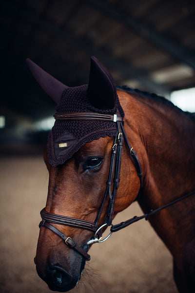 Equestrian Stockholm Padded Ear Bonnet Chocolate