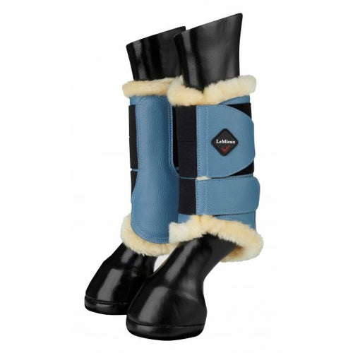 LeMieux Fleece Brushing Boots Ice Blue/Natural