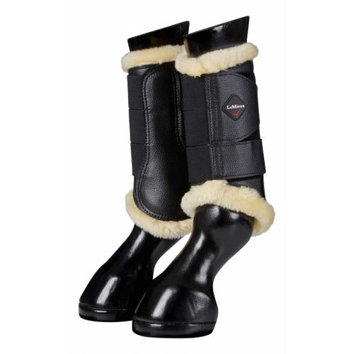 LeMieux Fleece Brushing Boots Black/Natural