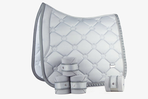 PS of Sweden Dressage Saddle Pad & Bandages Silver Ruffle