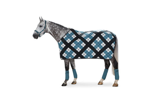 Eskadron Classic Sports Fleece Check Rug Caviar / Teal Blue / White