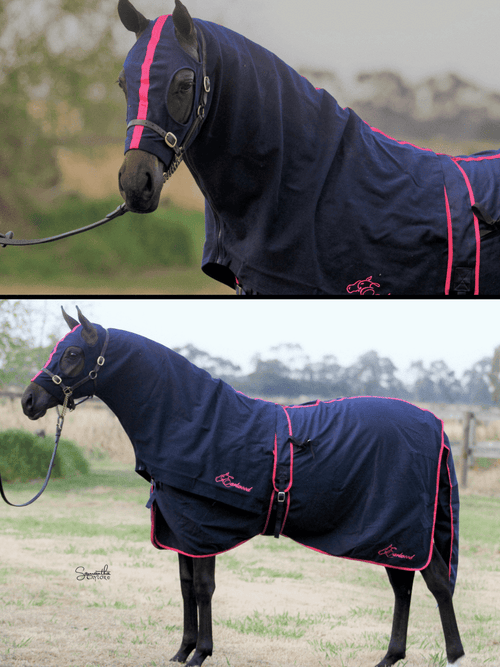Earlwood Rug & Tail Bag Navy / Pink (no hood)