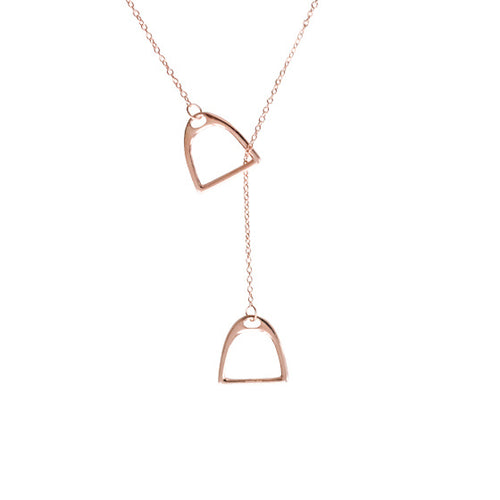 Horse Gloss Stirrup Necklace Rose Gold