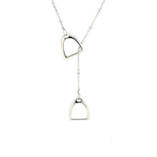 Horse Gloss Stirrup Necklace Silver