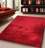 Hand Tufted Shag Viscose Solid Area Rug Red