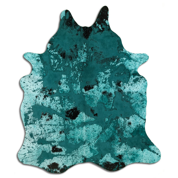 LO LA 003 Modern Turquoise Brown Hand Tufted Area Shag Rug