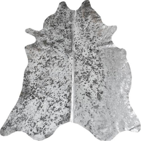 Brazilian Grey Black Metallic Cowhide Rug