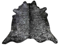Brazilian Cowhide Rug in Silver with Black