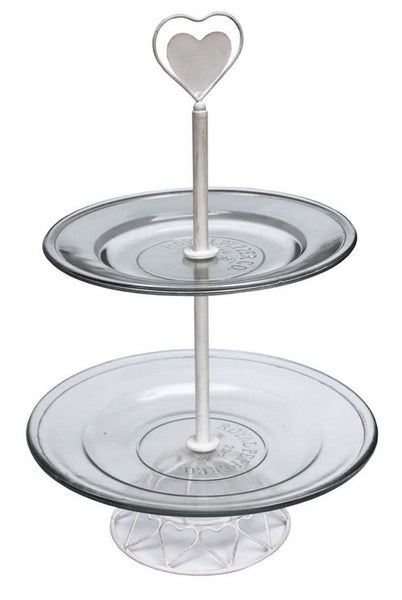 Cake Stand Glass Tiered with heart
