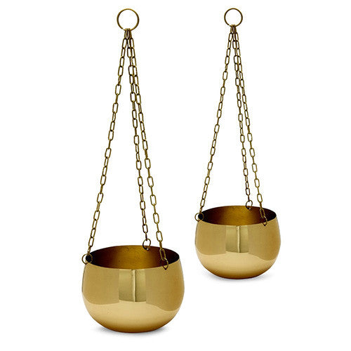 Brass hanging planters - set of 2