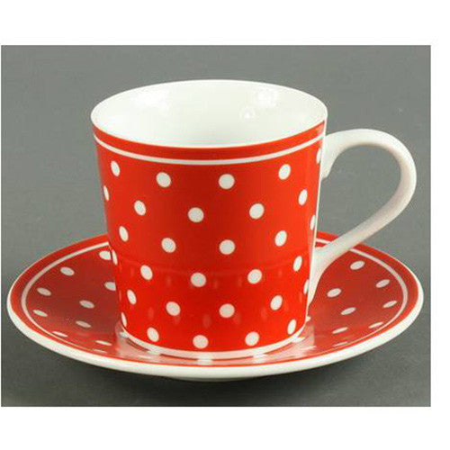 Red and White Polka Espresso Cup - set of 4