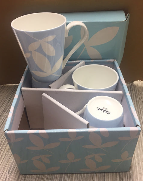 Rhubarb 4 Cup Set - Blue Flowers