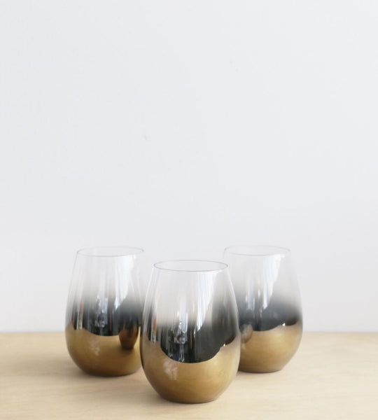 Nel Lusso Cariso Gold Stemless Handblown Tumblers - set of 4