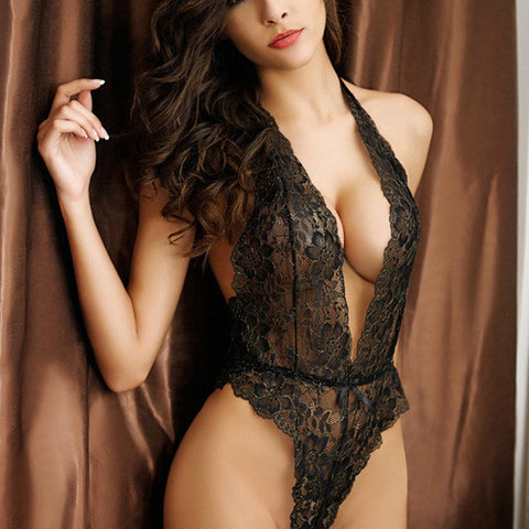 Elegant Deep V-Neck Floral Lace Teddy Black