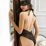 Elegant Deep V-Neck Floral Lace Teddy Black Back View